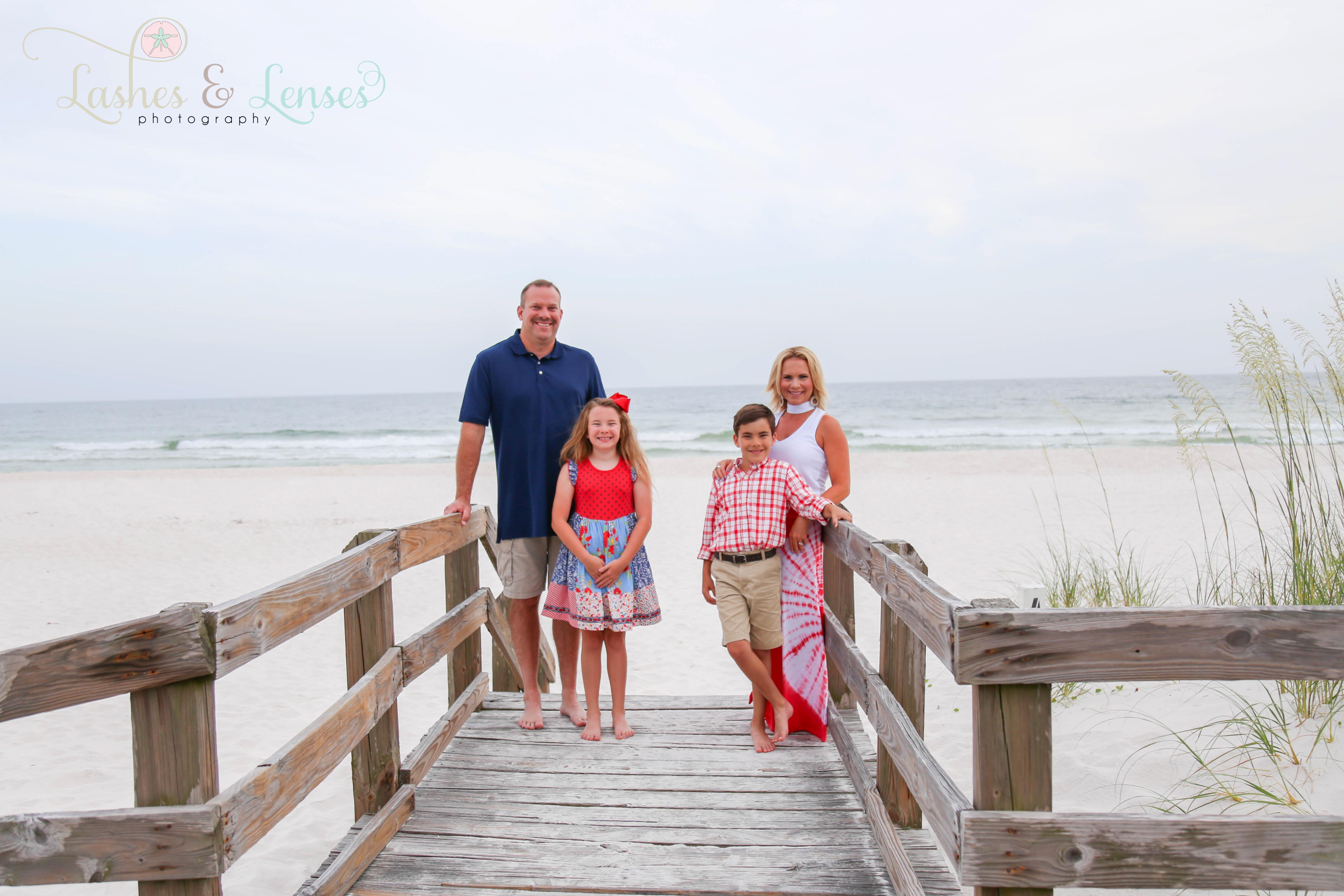 Family on boardwalk at Johnsons Beach Perdido Key Florida