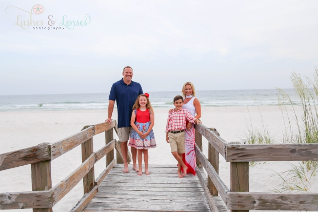 Family on boardwalk at Johnsons Beach Perdido Key Florida