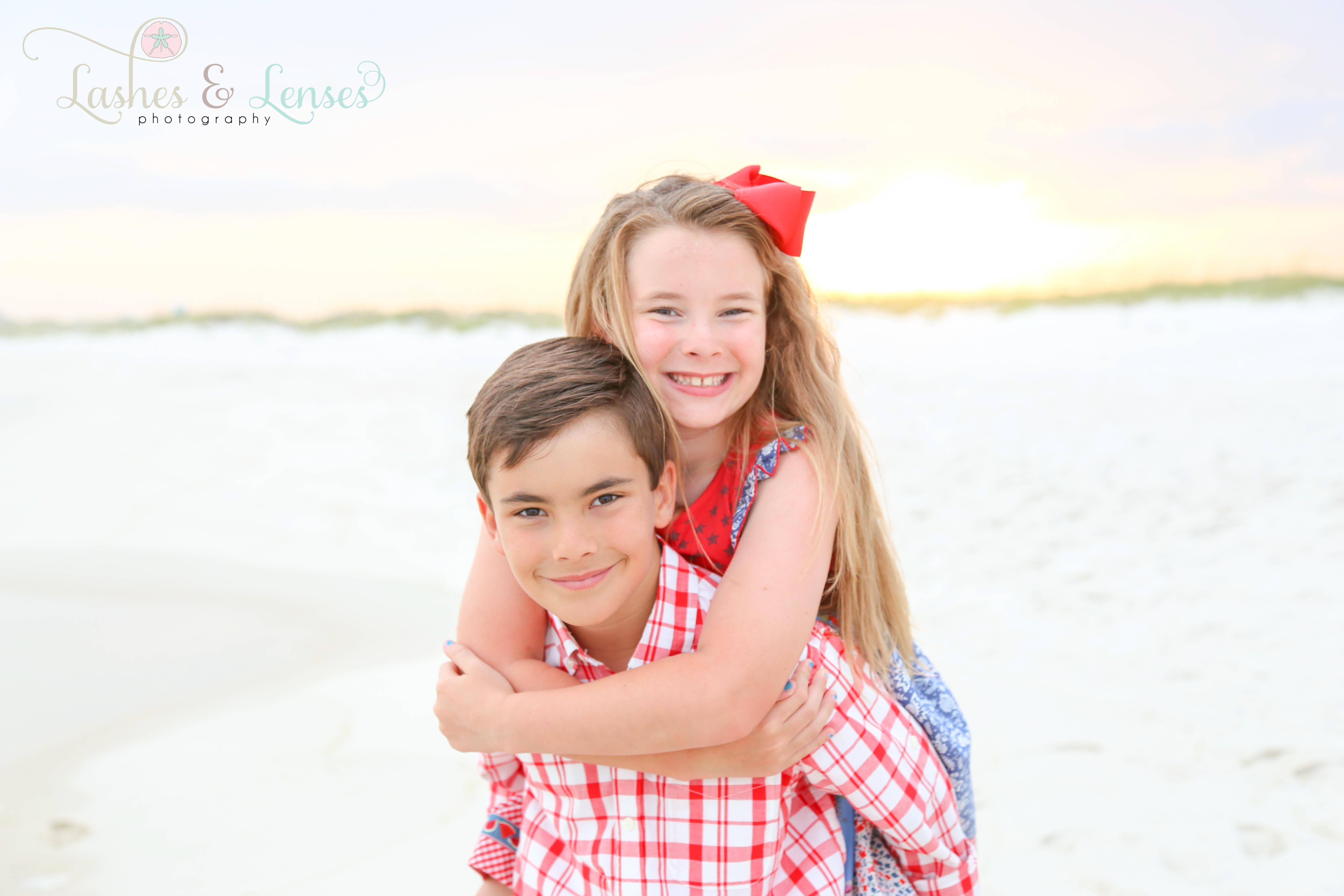Twins on beach at Perdido Key Florida
