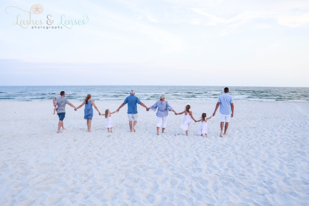 Large family walking down to water at Perdido Key