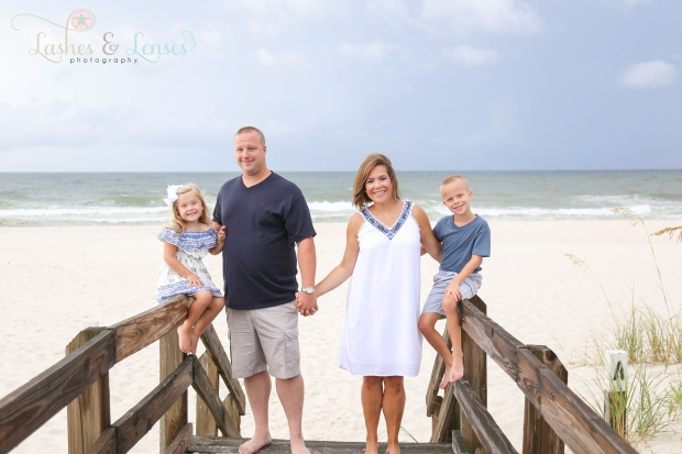 Family on boardwalk at Johnsons Beach Perdido Key