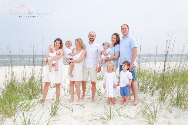 Large family by sand and water