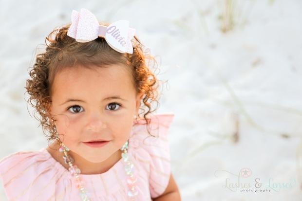 Up close shot of toddler girl at Johnsons Beach Perdido Key