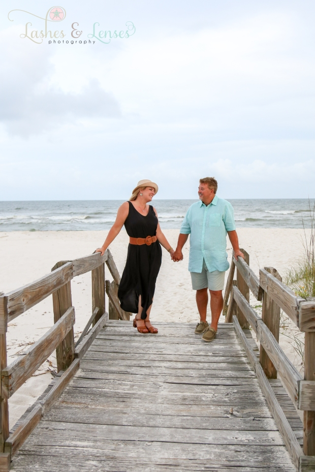 Husband and Wife on boardwalk at Johnsons Beach Perdido Key