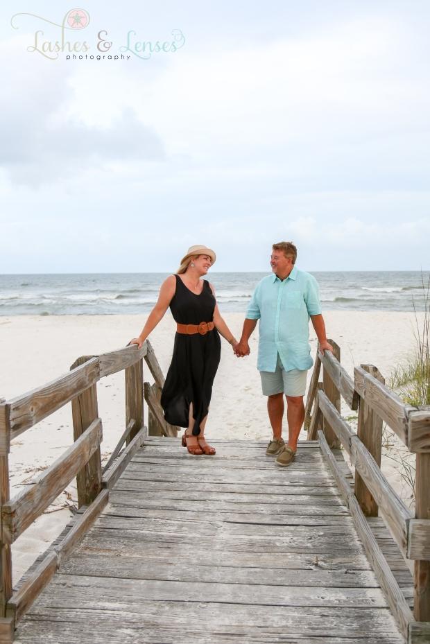 Husband and Wife on boardwalk at Johnsons Beach Perdido Key