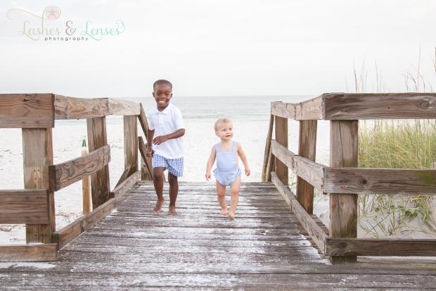 Brothers on the boardwalk at Johnsons Beach Perdido Key