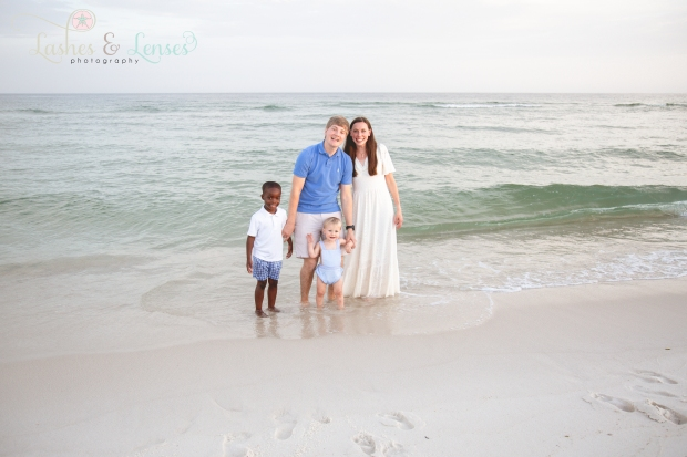 Family by the water at Johnsons Beach Perdido Key