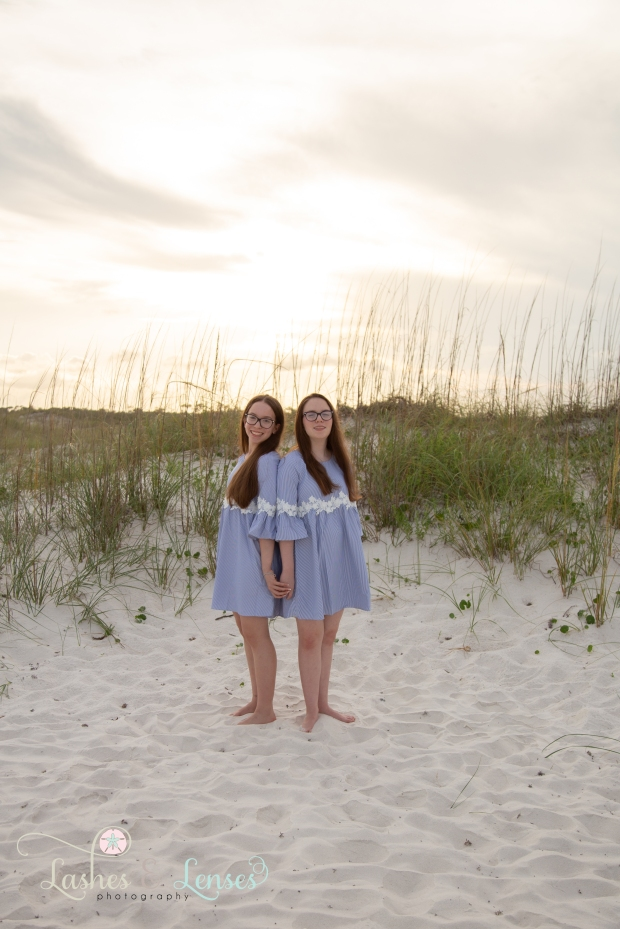 Twin sisters in the sand at Johnsons Beach Perdido Key