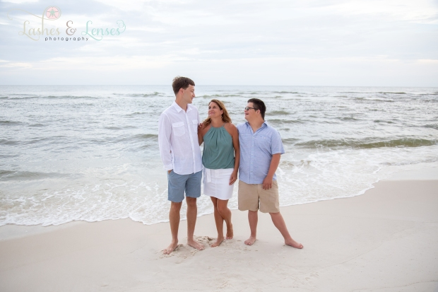 Mom with her two sons standing near the water at Johnsons Beach Perdido Key