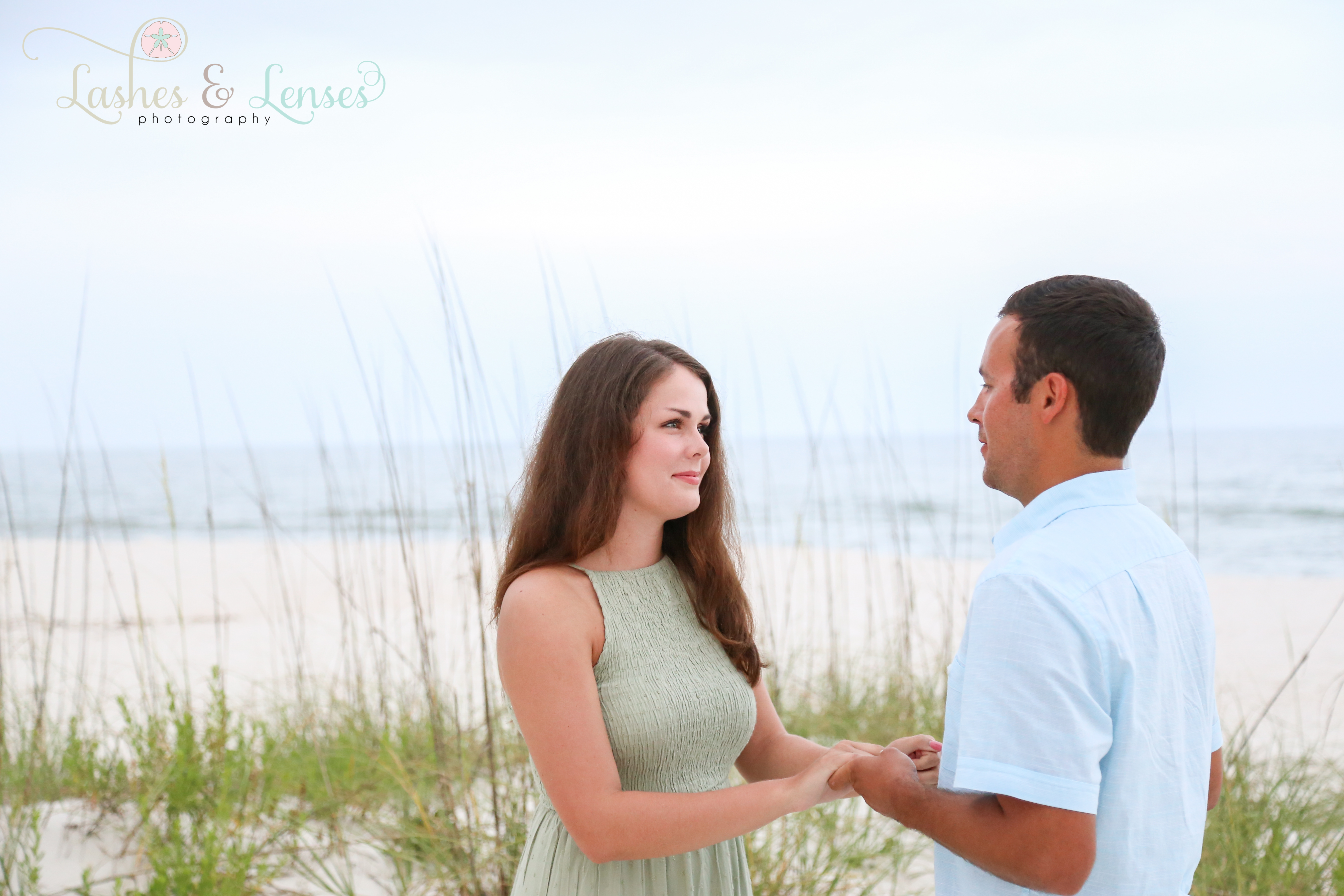 Couple right before the proposal at Johnsons Beach Perdido Key