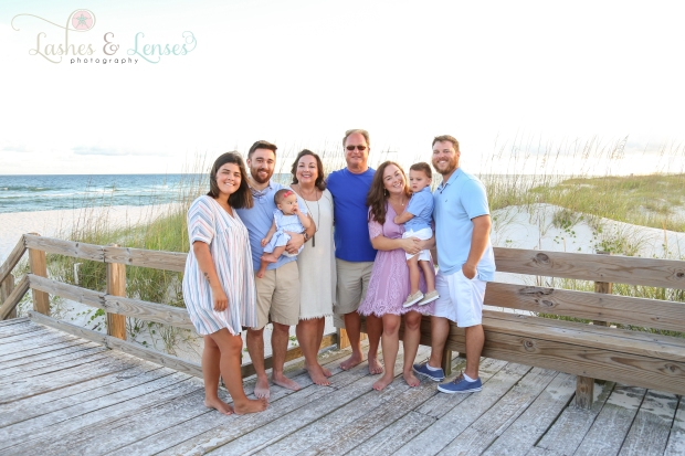 Extended family on the boardwalk at Johnsons Beach in Perdido Key