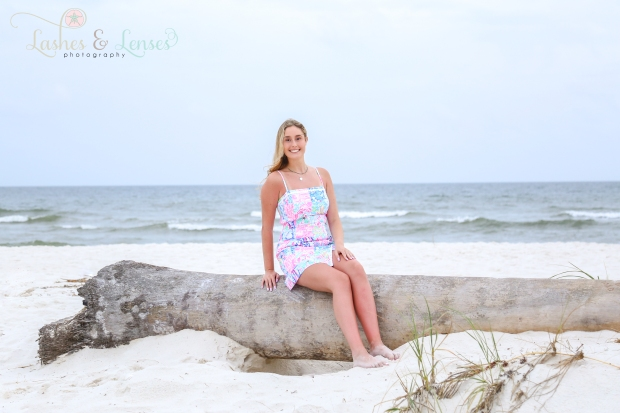 Blonde senior girl sitting on a washed up palm tree the beach next to a sand dune at Johnsons Beach in Perdido Key