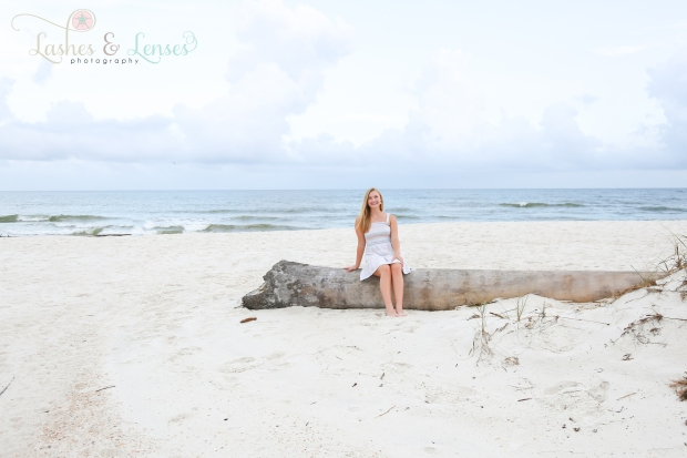 Senior Girl portrait sitting on a washed up tree at Johnson's Beach in Perdido Key