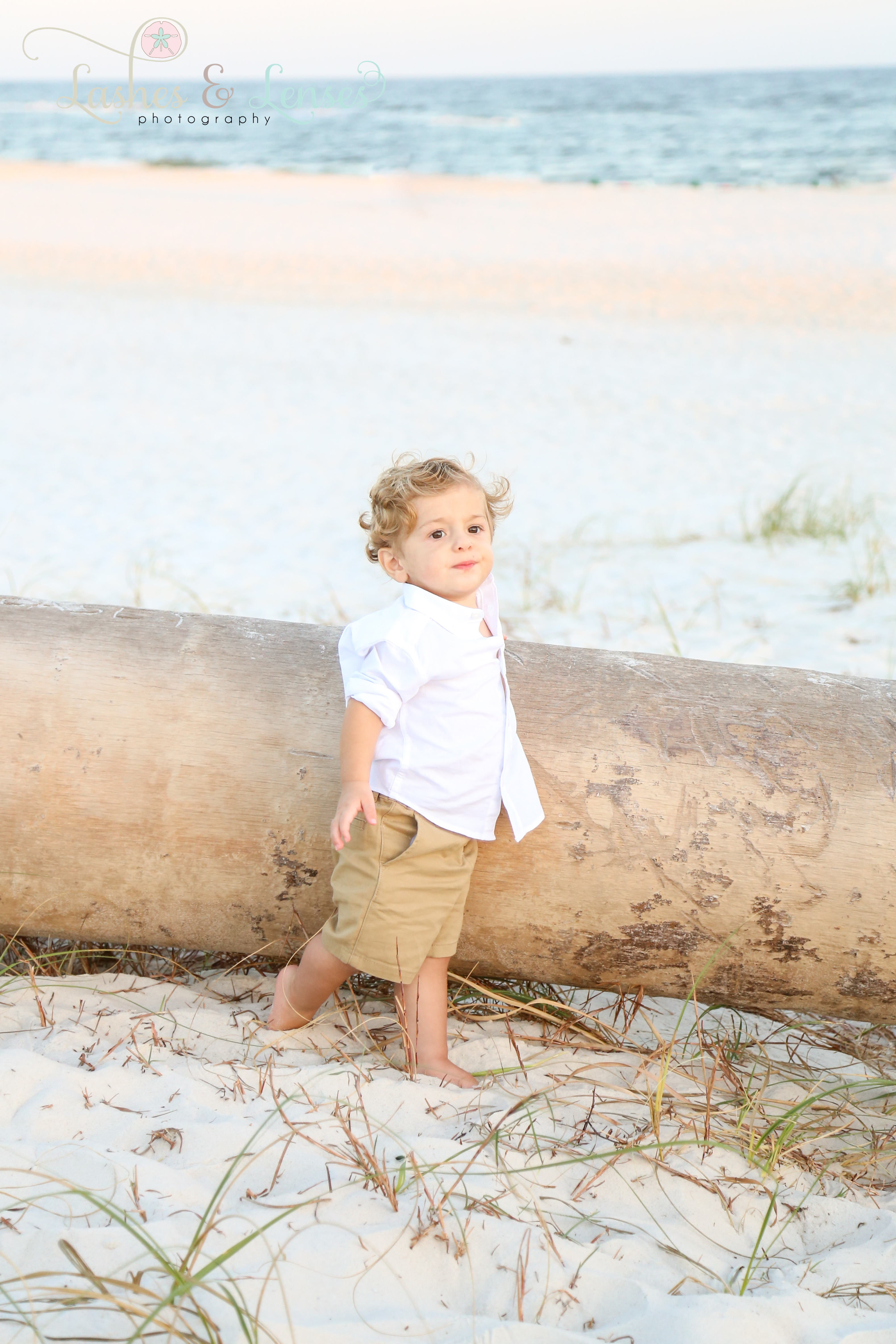 Little boy standing by washed up palm tree on the beach at Johnsons Beach in Perdido Key