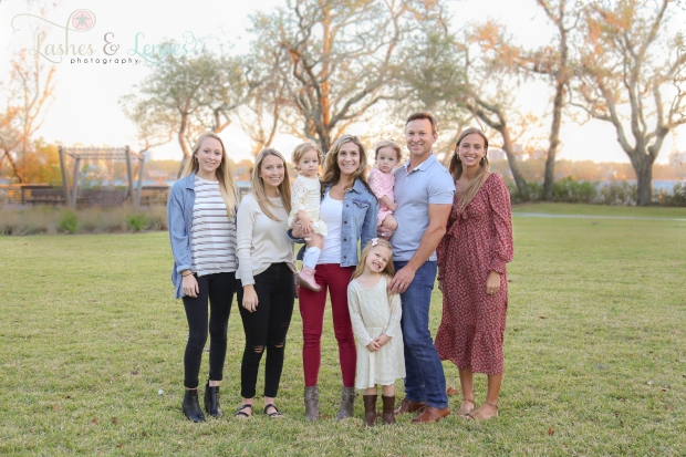 Mom and Dad with their six daughters for Christmas card photos at Innerarity Point Park