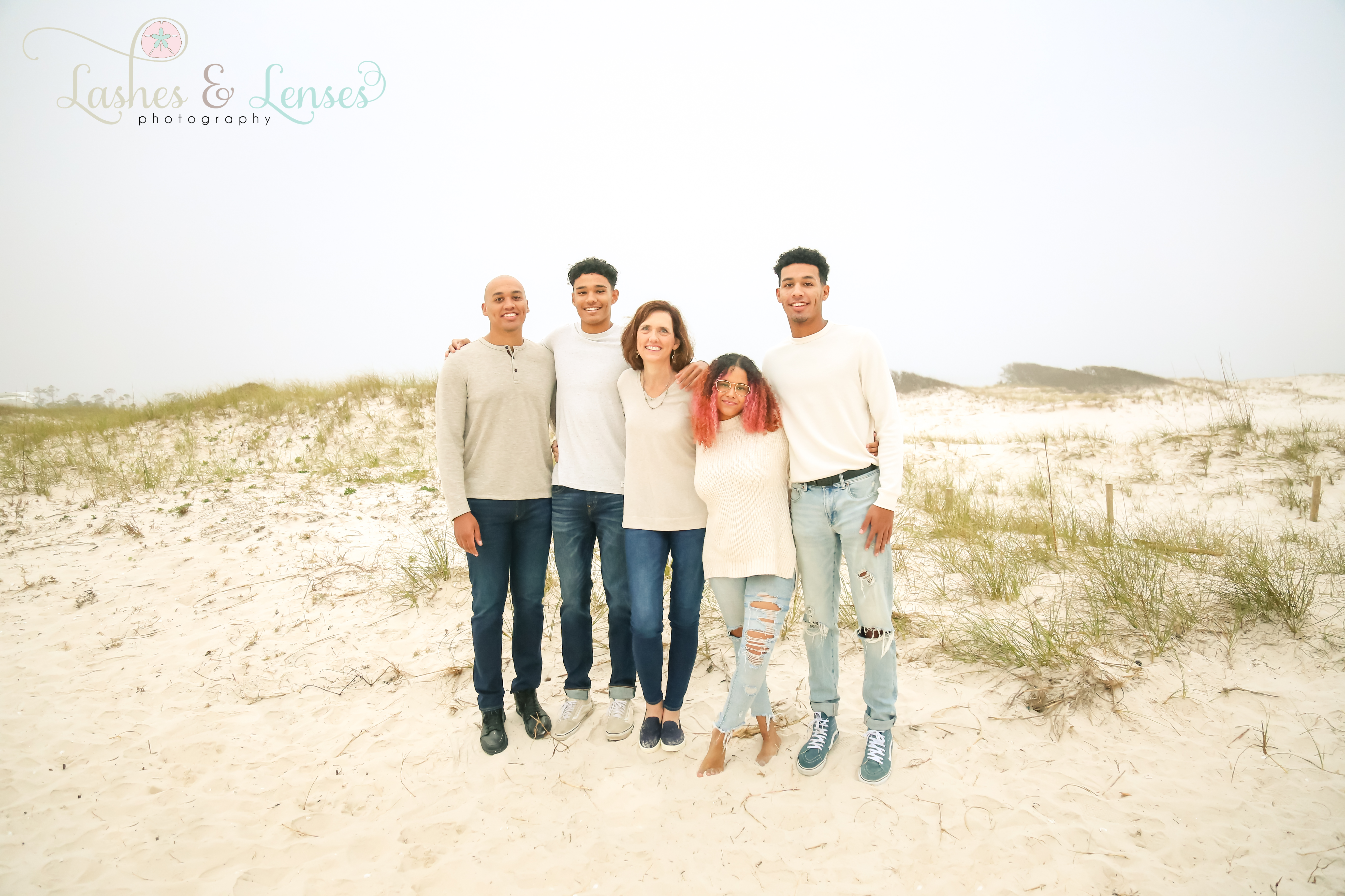 Mom with her four young adult children at Johnsons Beach in Perdido Key
