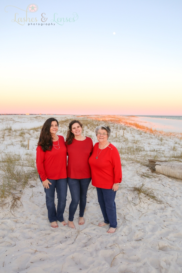 Three generations of moms on the beach at Johnsons Beach in Perdido Key