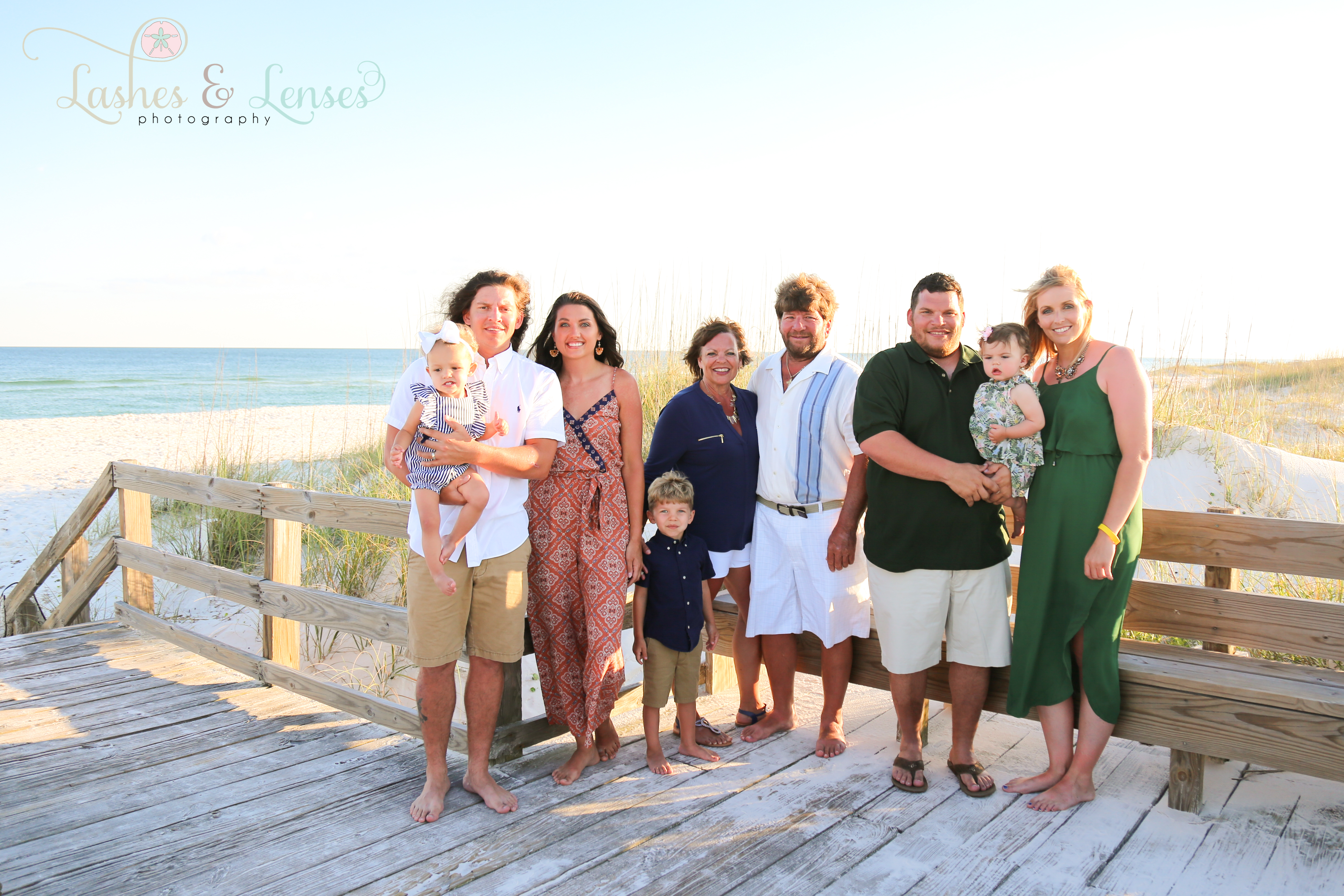 Large family on the boardwalk at Johnsons Beach in Perdido Key