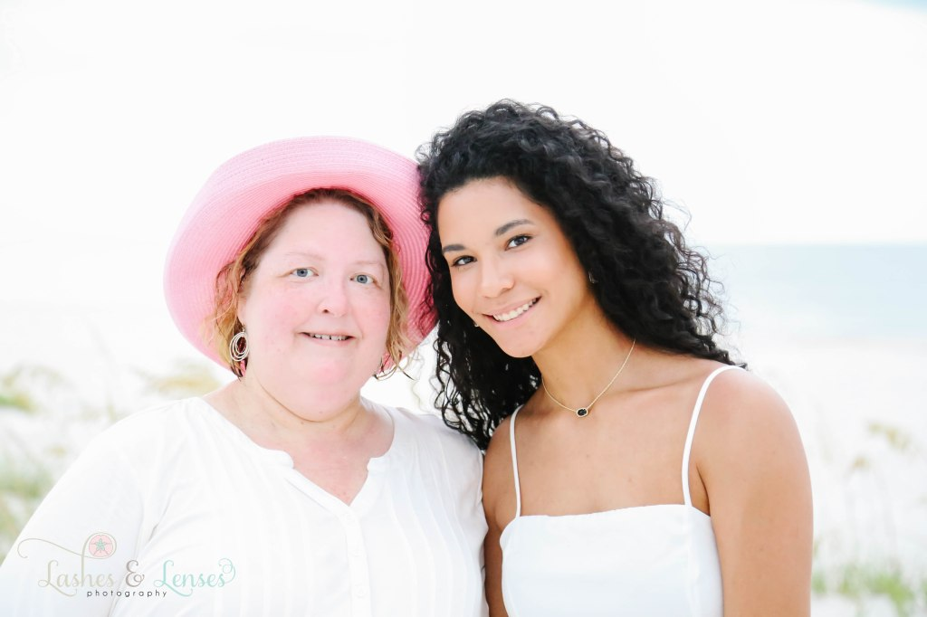 Close up photo of mom and adult daughter at Johnsons Beach in Perdido Key Florida
