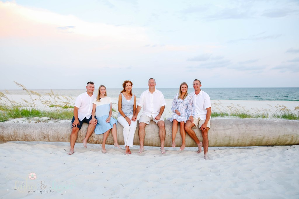 Three sets of couples sitting on a washed up palm tree with the water behind them at Johnsons Beach in Perdido Key Florida