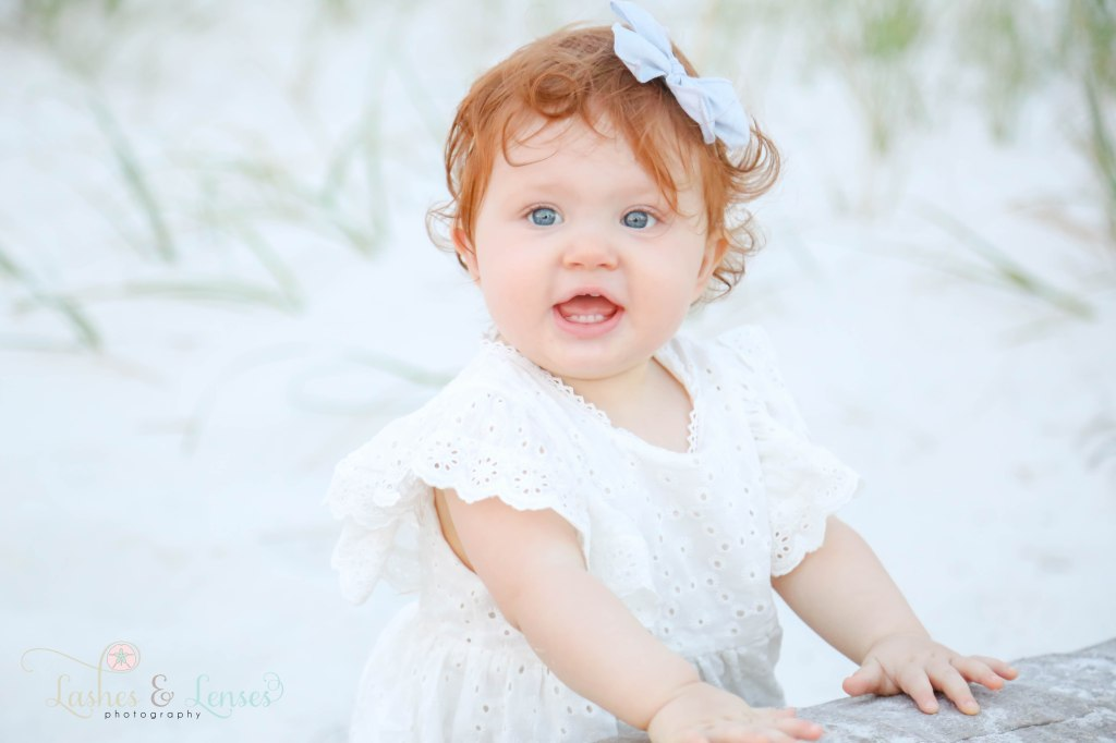 Close up photo of little girl at Johnsons Beach in Perdido Key Florida